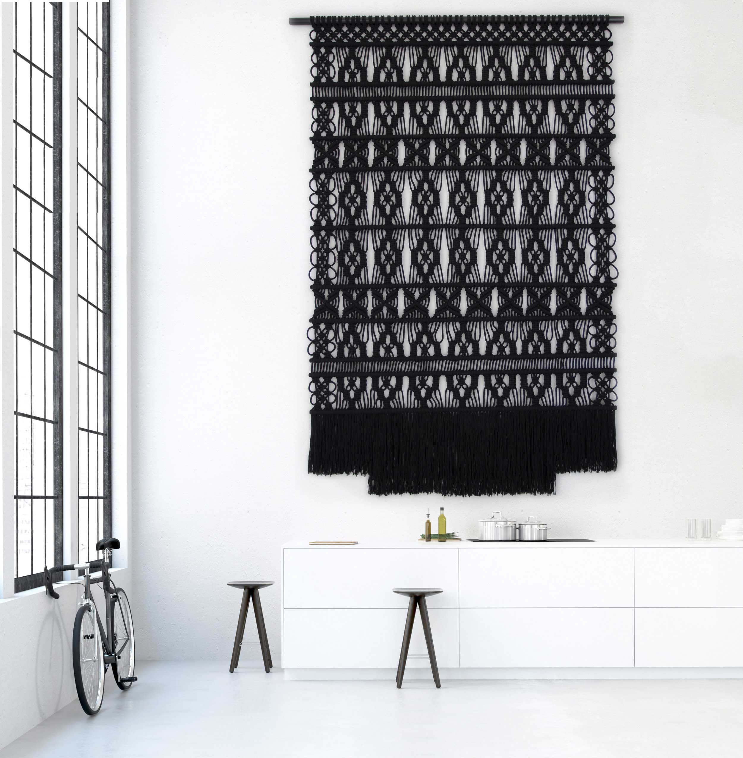 Black in high end interior Milla Novo Macrame Wallhanging