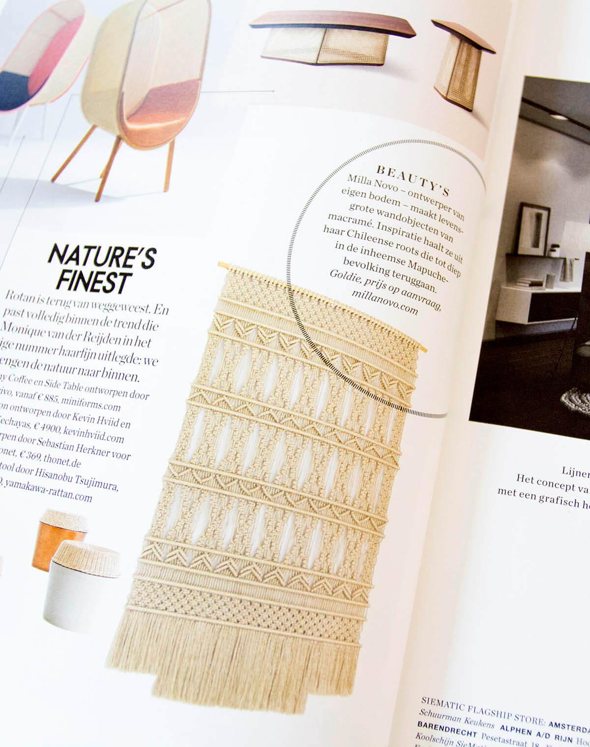 Featuring in interior lifestyle magazine Milla Novo Macrame Wallhanging