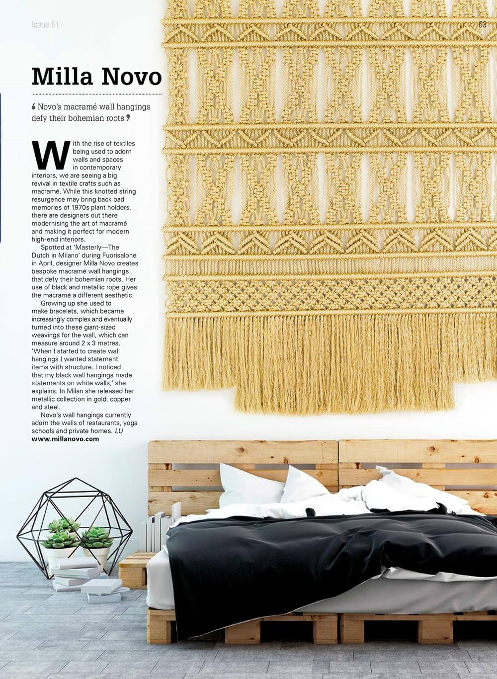 Goud Gold in article about interior Milla Novo Macrame Wallhanging